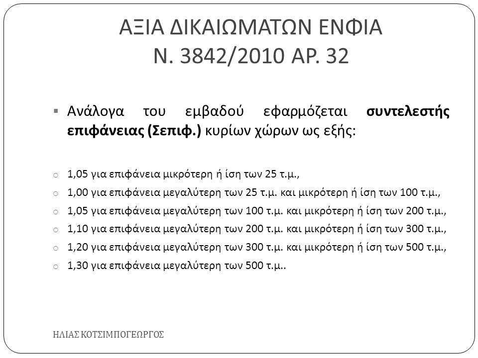 ΑΞΙΑ ΔΙΚΑΙΩΜΑΤΩΝ ΕΝΦΙΑ Ν. 3842/2010 ΑΡ. 32 ΗΛΙΑΣ ΚΟΤΣΙΜΠΟΓΕΩΡΓΟΣ  Ανάλογα του εμβαδού εφαρμόζεται συντελεστής επιφάνειας ( Σεπιφ.) κυρίων χώρων ως εξ