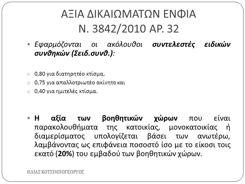 ΑΞΙΑ ΔΙΚΑΙΩΜΑΤΩΝ ΕΝΦΙΑ Ν. 3842/2010 ΑΡ. 32 ΗΛΙΑΣ ΚΟΤΣΙΜΠΟΓΕΩΡΓΟΣ  Εφαρμόζονται οι ακόλουθοι συντελεστές ειδικών συνθηκών ( Σειδ. συνθ.): o 0,80 για δ