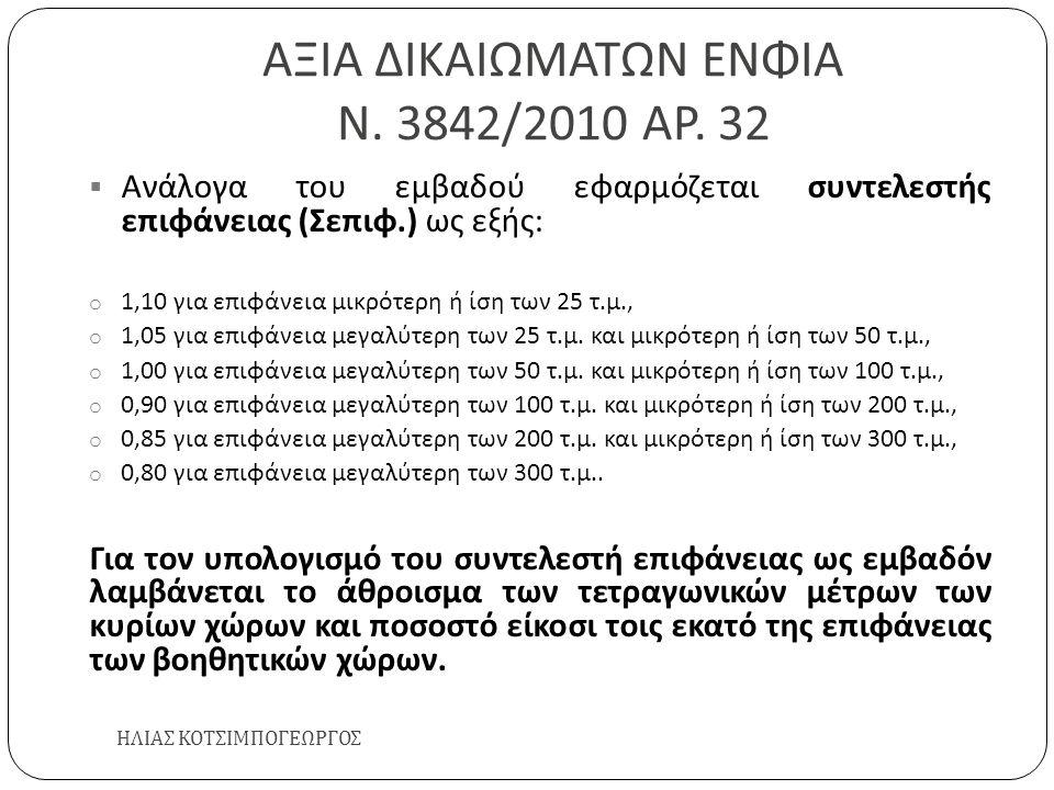 ΑΞΙΑ ΔΙΚΑΙΩΜΑΤΩΝ ΕΝΦΙΑ Ν. 3842/2010 ΑΡ. 32 ΗΛΙΑΣ ΚΟΤΣΙΜΠΟΓΕΩΡΓΟΣ  Ανάλογα του εμβαδού εφαρμόζεται συντελεστής επιφάνειας ( Σεπιφ.) ως εξής : o 1,10 γ
