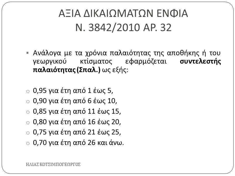 ΑΞΙΑ ΔΙΚΑΙΩΜΑΤΩΝ ΕΝΦΙΑ Ν. 3842/2010 ΑΡ. 32 ΗΛΙΑΣ ΚΟΤΣΙΜΠΟΓΕΩΡΓΟΣ  Ανάλογα με τα χρόνια παλαιότητας της αποθήκης ή του γεωργικού κτίσματος εφαρμόζεται