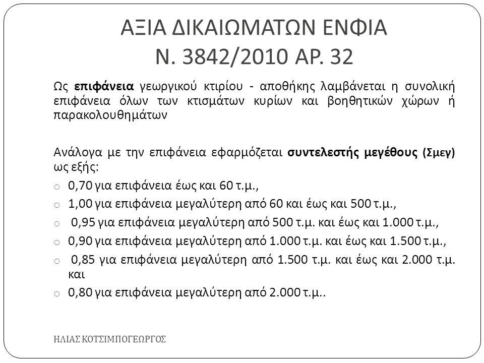 ΑΞΙΑ ΔΙΚΑΙΩΜΑΤΩΝ ΕΝΦΙΑ Ν. 3842/2010 ΑΡ. 32 ΗΛΙΑΣ ΚΟΤΣΙΜΠΟΓΕΩΡΓΟΣ Ως επιφάνεια γεωργικού κτιρίου - αποθήκης λαμβάνεται η συνολική επιφάνεια όλων των κτ