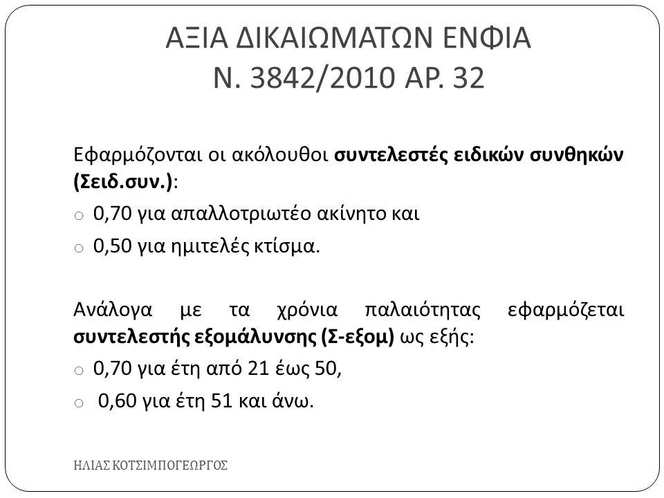 ΑΞΙΑ ΔΙΚΑΙΩΜΑΤΩΝ ΕΝΦΙΑ Ν. 3842/2010 ΑΡ. 32 ΗΛΙΑΣ ΚΟΤΣΙΜΠΟΓΕΩΡΓΟΣ Εφαρμόζονται οι ακόλουθοι συντελεστές ειδικών συνθηκών ( Σειδ. συν.): o 0,70 για απαλ
