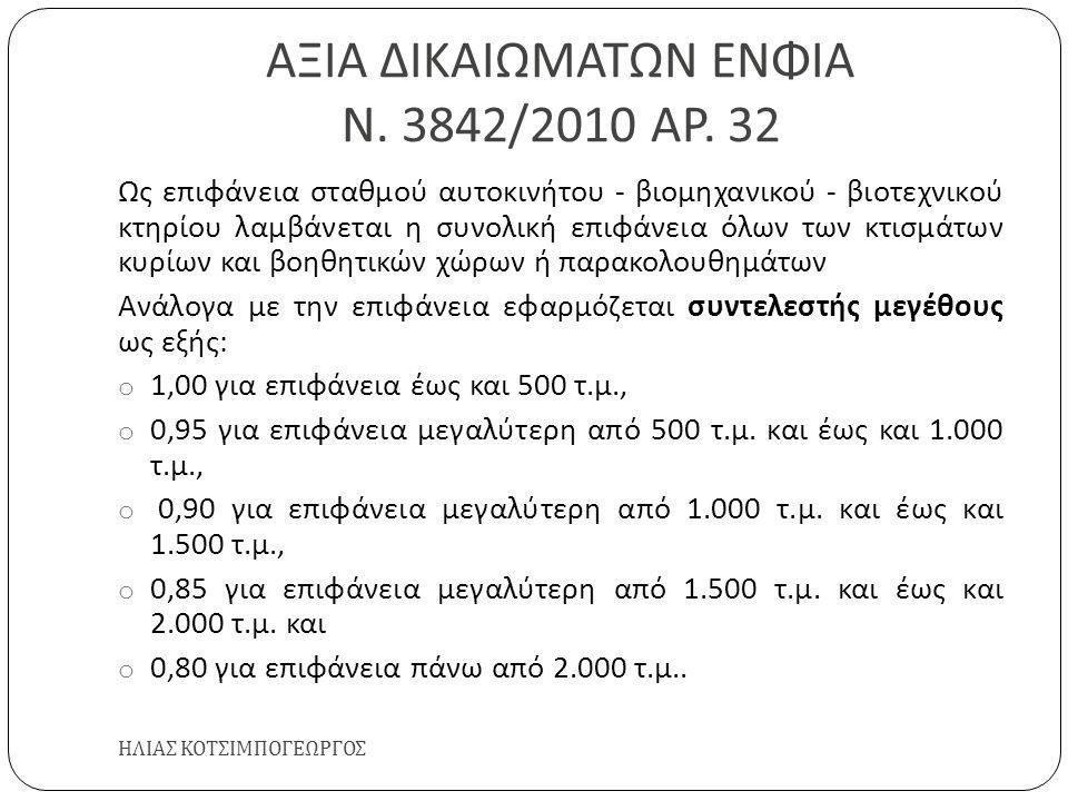 ΑΞΙΑ ΔΙΚΑΙΩΜΑΤΩΝ ΕΝΦΙΑ Ν. 3842/2010 ΑΡ. 32 ΗΛΙΑΣ ΚΟΤΣΙΜΠΟΓΕΩΡΓΟΣ Ως επιφάνεια σταθμού αυτοκινήτου - βιομηχανικού - βιοτεχνικού κτηρίου λαμβάνεται η συ