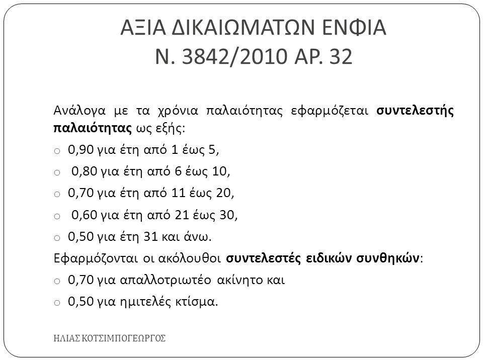 ΑΞΙΑ ΔΙΚΑΙΩΜΑΤΩΝ ΕΝΦΙΑ Ν. 3842/2010 ΑΡ. 32 ΗΛΙΑΣ ΚΟΤΣΙΜΠΟΓΕΩΡΓΟΣ Ανάλογα με τα χρόνια παλαιότητας εφαρμόζεται συντελεστής παλαιότητας ως εξής : o 0,90