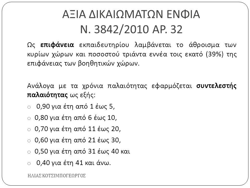 ΑΞΙΑ ΔΙΚΑΙΩΜΑΤΩΝ ΕΝΦΙΑ Ν. 3842/2010 ΑΡ. 32 ΗΛΙΑΣ ΚΟΤΣΙΜΠΟΓΕΩΡΓΟΣ Ως επιφάνεια εκπαιδευτηρίου λαμβάνεται το άθροισμα των κυρίων χώρων και ποσοστού τριά