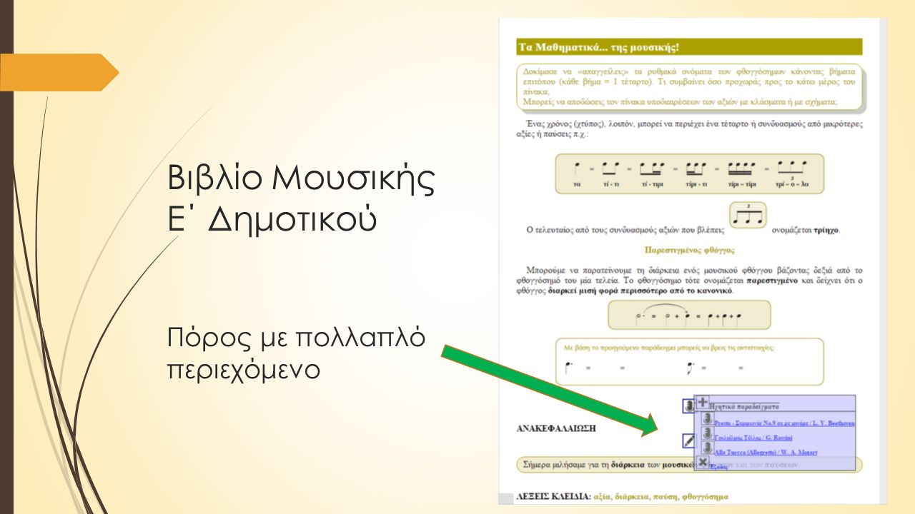 Βιβλίο Μουσικής Ε΄ Δημοτικού Πόρος με πολλαπλό περιεχόμενο