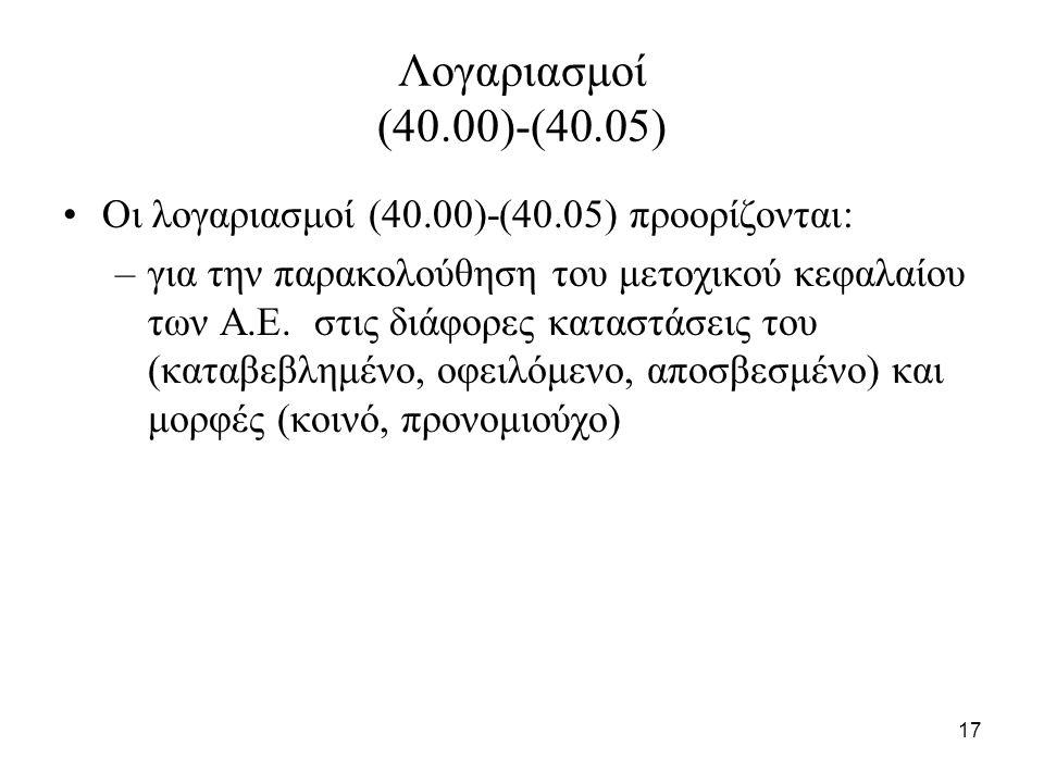 17 Λογαριασμοί (40.00)-(40.05) Οι λογαριασμοί (40.00)-(40.05) προορίζονται: –για την παρακολούθηση του μετοχικού κεφαλαίου των Α.Ε.