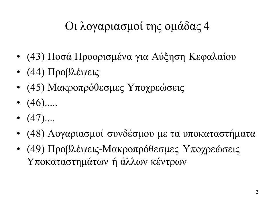 74 Προβλέψεις για κινδύνους εκμεταλλεύσεως Οι προβλέψεις αυτές σχηματίζονται: –με χρέωση του λογαριασμού (68) «Προβλέψεις εκμεταλλεύσεως» και –με πίστωση των κατάλληλων δευτεροβάθμιων του λογαριασμού (44) «Προβλέψεις»