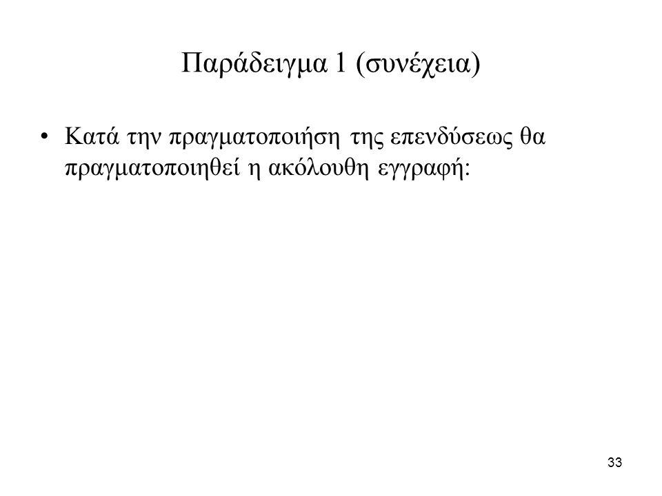 33 Παράδειγμα 1 (συνέχεια) Κατά την πραγματοποιήση της επενδύσεως θα πραγματοποιηθεί η ακόλουθη εγγραφή: