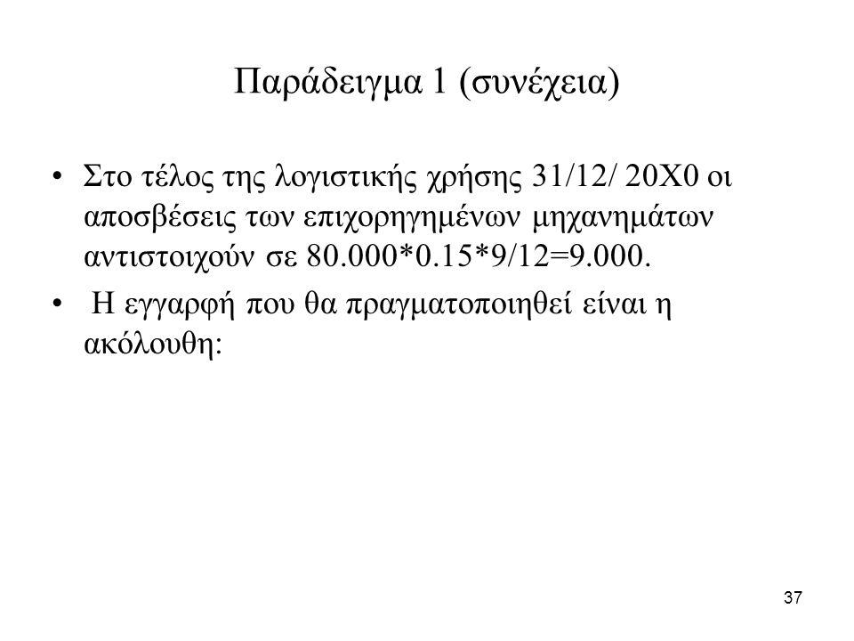 37 Παράδειγμα 1 (συνέχεια) Στο τέλος της λογιστικής χρήσης 31/12/ 20Χ0 οι αποσβέσεις των επιχορηγημένων μηχανημάτων αντιστοιχούν σε 80.000*0.15*9/12=9.000.