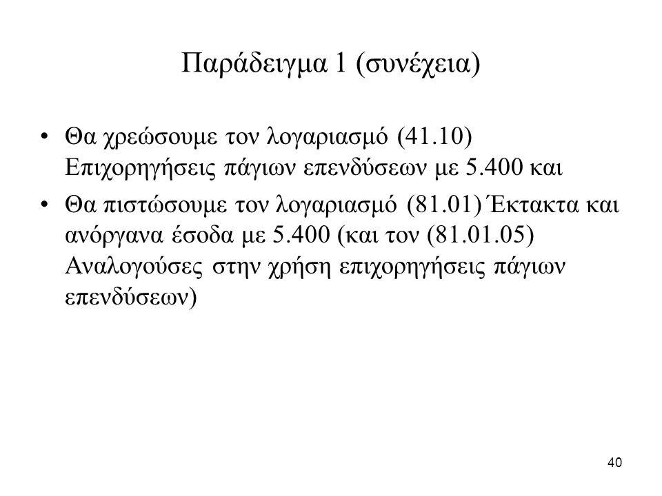 40 Παράδειγμα 1 (συνέχεια) Θα χρεώσουμε τον λογαριασμό (41.10) Επιχορηγήσεις πάγιων επενδύσεων με 5.400 και Θα πιστώσουμε τον λογαριασμό (81.01) Έκτακτα και ανόργανα έσοδα με 5.400 (και τον (81.01.05) Αναλογούσες στην χρήση επιχορηγήσεις πάγιων επενδύσεων)