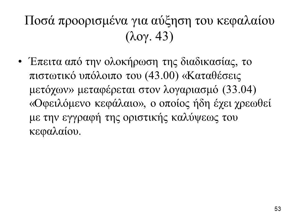 53 Ποσά προορισμένα για αύξηση του κεφαλαίου (λογ.