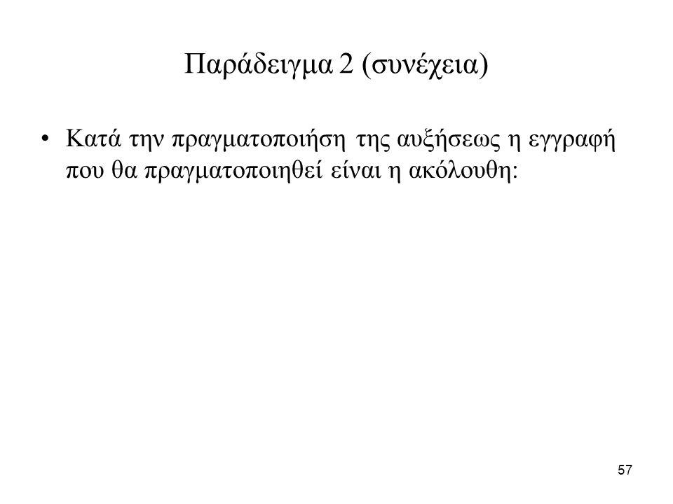 57 Παράδειγμα 2 (συνέχεια) Κατά την πραγματοποιήση της αυξήσεως η εγγραφή που θα πραγματοποιηθεί είναι η ακόλουθη: