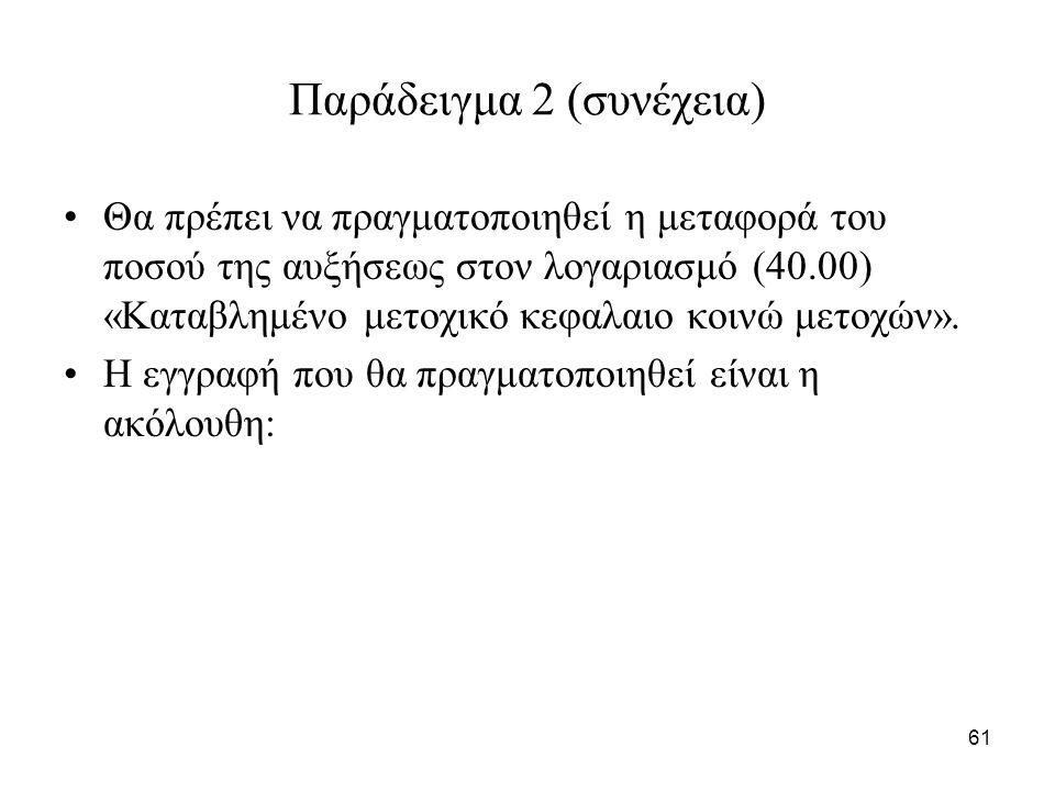 61 Παράδειγμα 2 (συνέχεια) Θα πρέπει να πραγματοποιηθεί η μεταφορά του ποσού της αυξήσεως στον λογαριασμό (40.00) «Καταβλημένο μετοχικό κεφαλαιο κοινώ μετοχών».