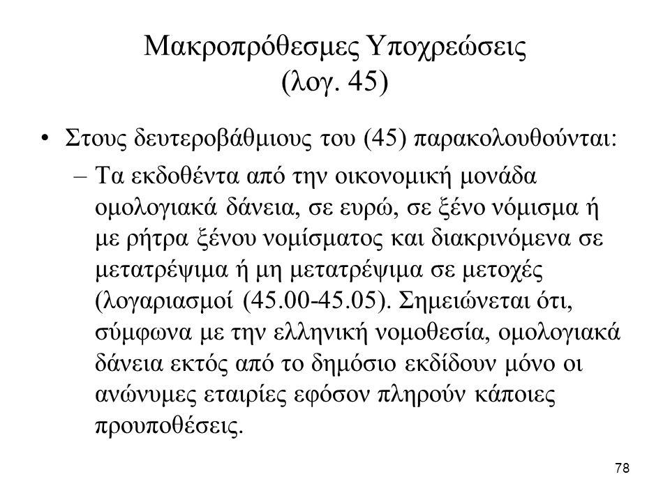 78 Μακροπρόθεσμες Υποχρεώσεις (λογ.