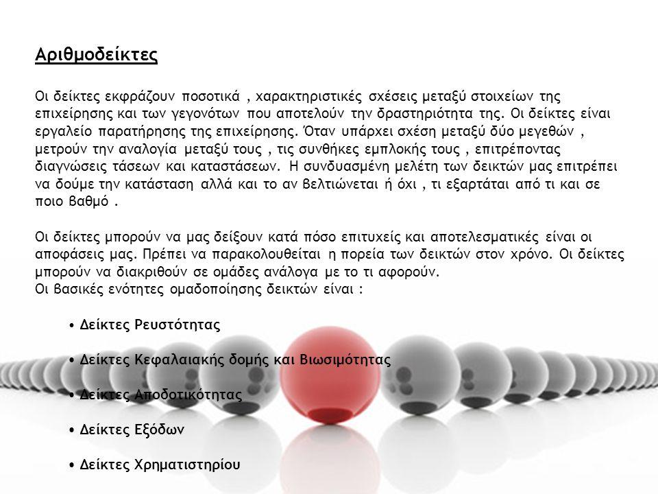 Αριθμοδείκτες Οι δείκτες εκφράζουν ποσοτικά, χαρακτηριστικές σχέσεις μεταξύ στοιχείων της επιχείρησης και των γεγονότων που αποτελούν την δραστηριότητα της.