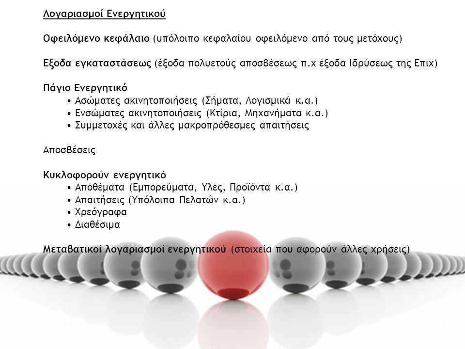 Λογαριασμοί Ενεργητικού Οφειλόμενο κεφάλαιο (υπόλοιπο κεφαλαίου οφειλόμενο από τους μετόχους) Εξοδα εγκαταστάσεως (έξοδα πολυετούς αποσβέσεως π.χ έξοδα Ιδρύσεως της Επιχ) Πάγιο Ενεργητικό Ασώματες ακινητοποιήσεις (Σήματα, Λογισμικά κ.α.) Ενσώματες ακινητοποιήσεις (Κτίρια, Μηχανήματα κ.α.) Συμμετοχές και άλλες μακροπρόθεσμες απαιτήσεις Αποσβέσεις Κυκλοφορούν ενεργητικό Αποθέματα (Εμπορεύματα, Υλες, Προϊόντα κ.α.) Απαιτήσεις (Υπόλοιπα Πελατών κ.α.) Χρεόγραφα Διαθέσιμα Μεταβατικοί λογαριασμοί ενεργητικού (στοιχεία που αφορούν άλλες χρήσεις)