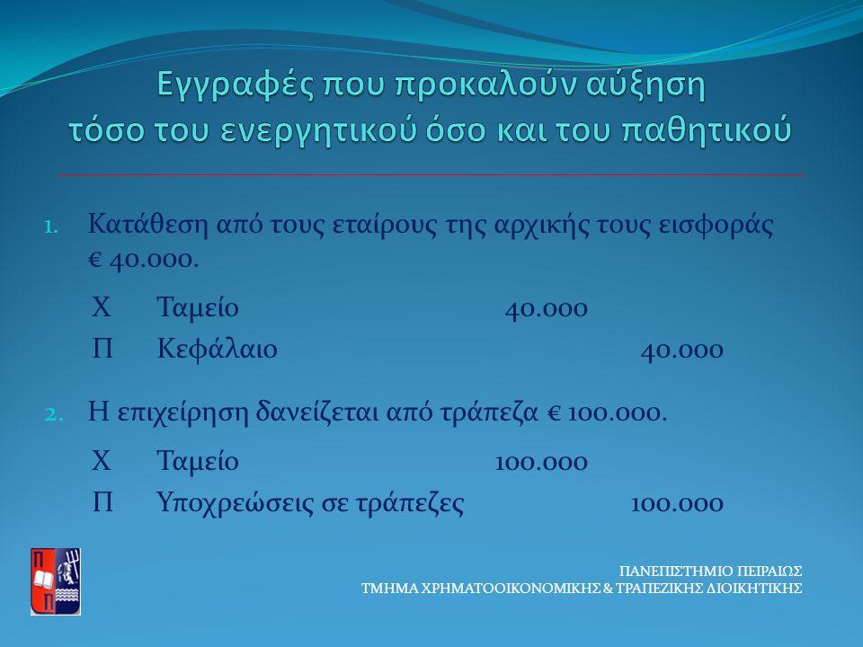 1. Κατάθεση από τους εταίρους της αρχικής τους εισφοράς € 40.000.