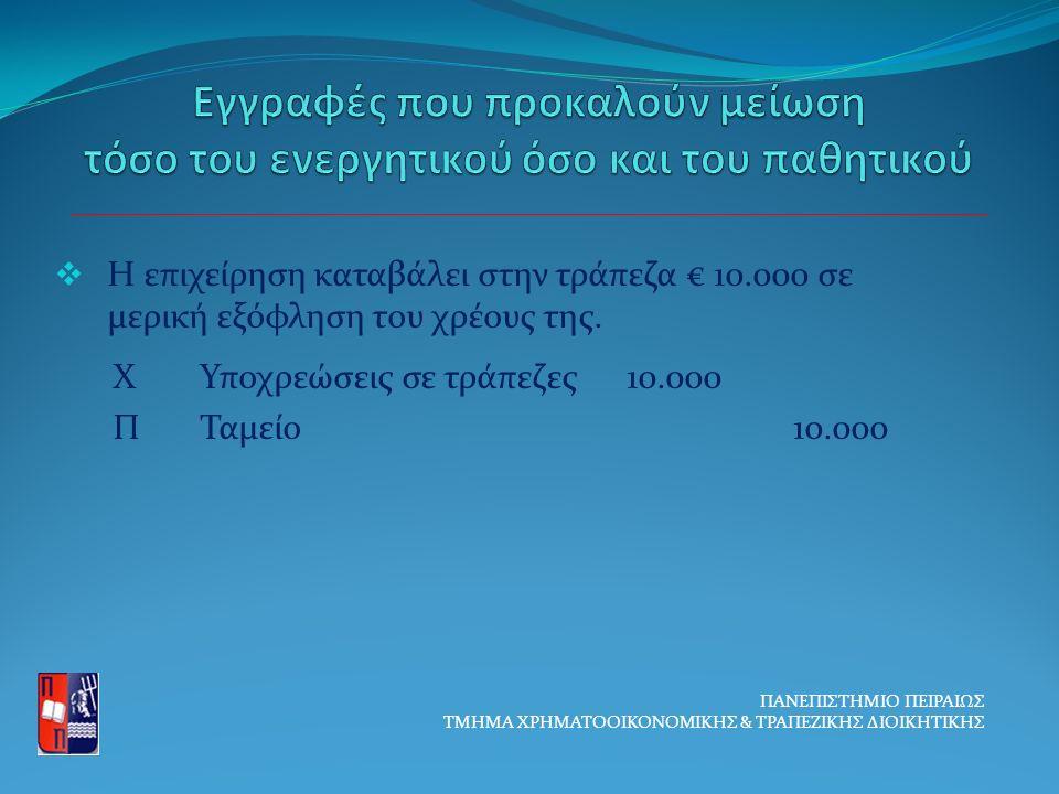  Η επιχείρηση καταβάλει στην τράπεζα € 10.000 σε μερική εξόφληση του χρέους της.