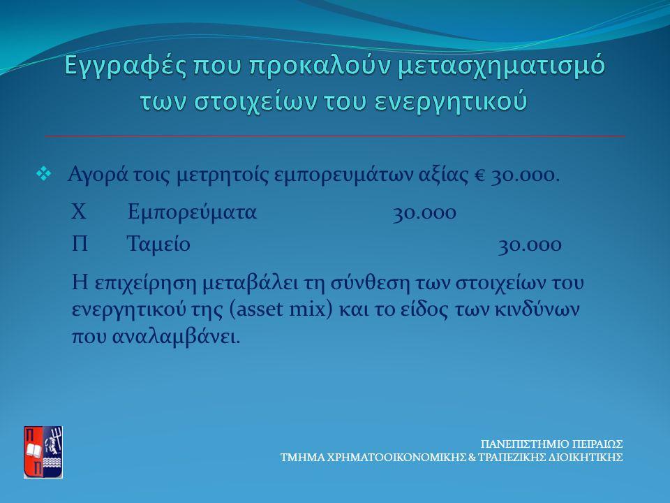  Αγορά τοις μετρητοίς εμπορευμάτων αξίας € 30.000.