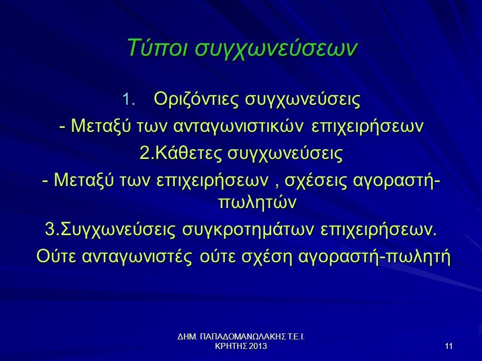 ΔΗΜ.ΠΑΠΑΔΟΜΑΝΩΛΑΚΗΣ Τ.Ε.Ι. ΚΡΗΤΗΣ 2013 11 Τύποι συγχωνεύσεων 1.