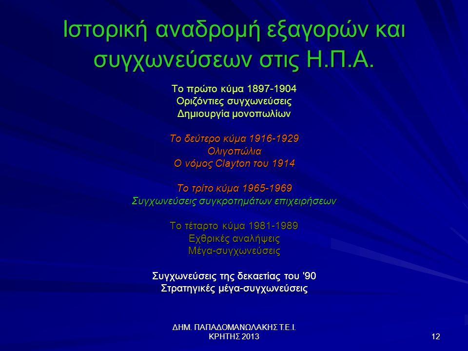 ΔΗΜ.ΠΑΠΑΔΟΜΑΝΩΛΑΚΗΣ Τ.Ε.Ι. ΚΡΗΤΗΣ 2013 12 Ιστορική αναδρομή εξαγορών και συγχωνεύσεων στις Η.Π.Α.