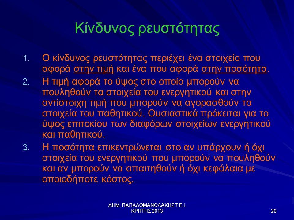 ΔΗΜ.ΠΑΠΑΔΟΜΑΝΩΛΑΚΗΣ Τ.Ε.Ι. ΚΡΗΤΗΣ 2013 20 Κίνδυνος ρευστότητας 1.