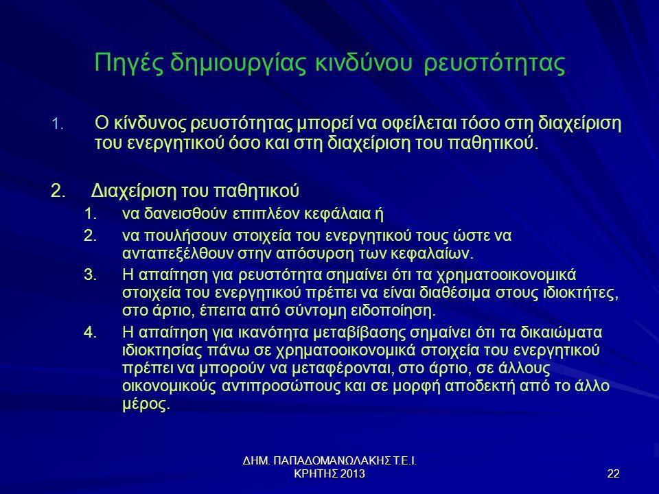 ΔΗΜ.ΠΑΠΑΔΟΜΑΝΩΛΑΚΗΣ Τ.Ε.Ι. ΚΡΗΤΗΣ 2013 22 Πηγές δημιουργίας κινδύνου ρευστότητας 1.