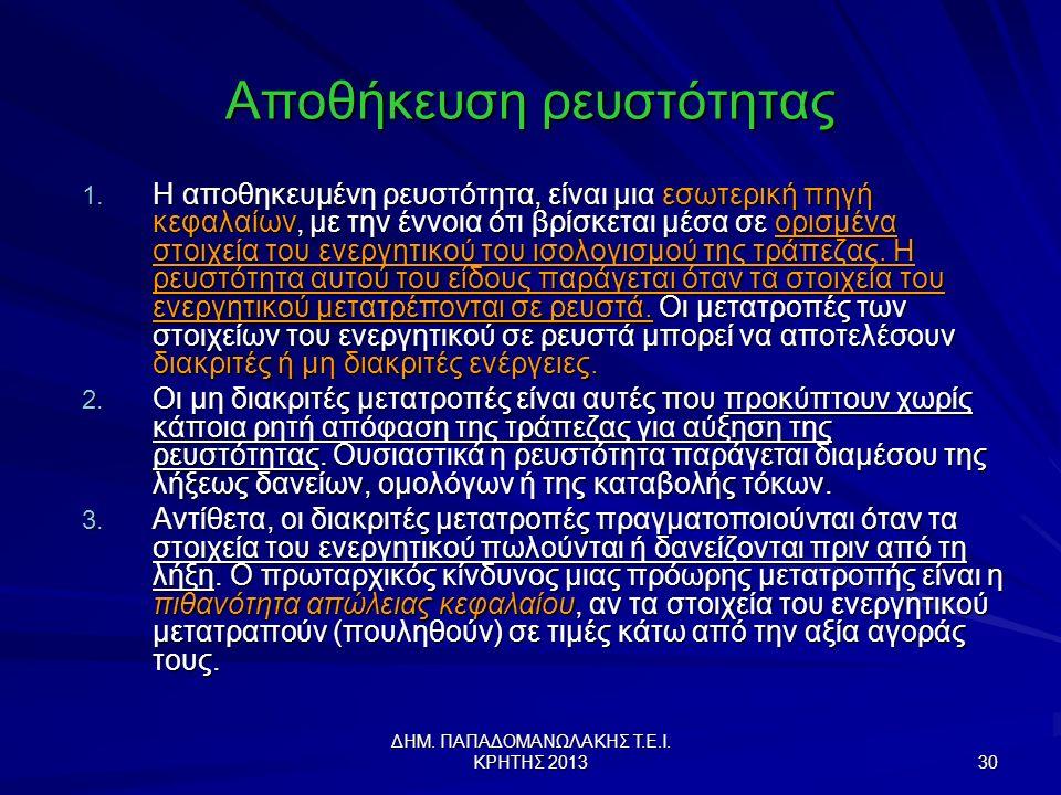ΔΗΜ.ΠΑΠΑΔΟΜΑΝΩΛΑΚΗΣ Τ.Ε.Ι. ΚΡΗΤΗΣ 2013 30 Αποθήκευση ρευστότητας 1.