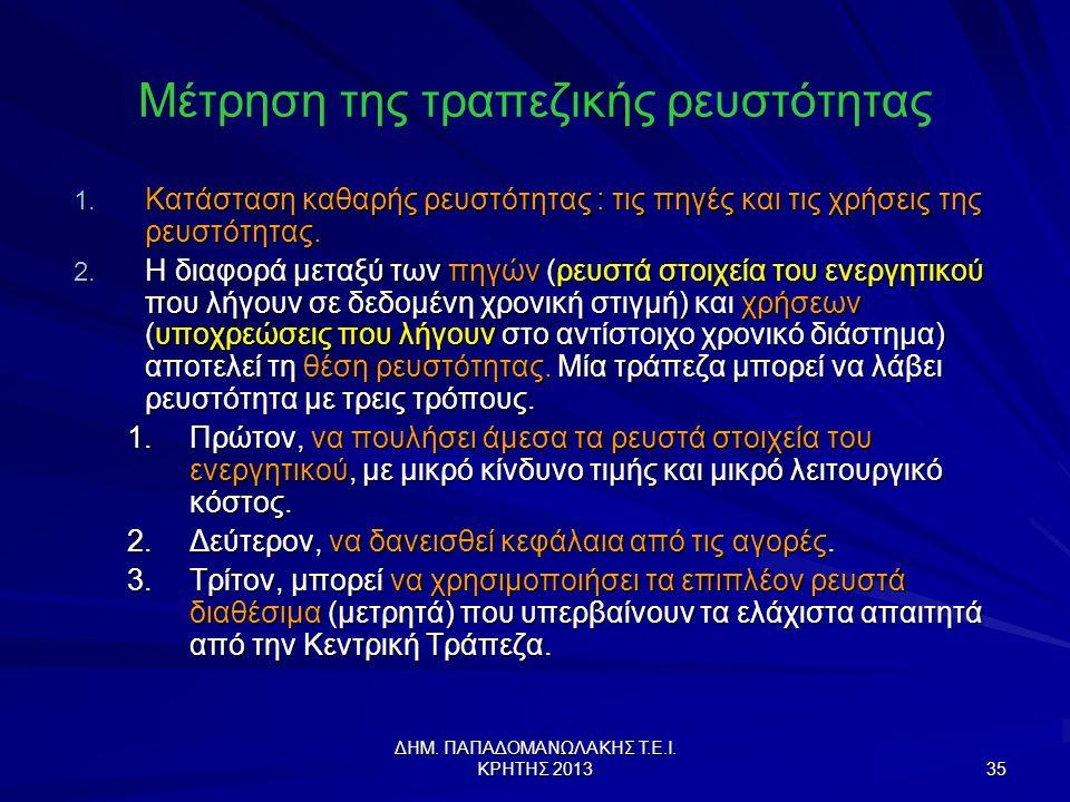 ΔΗΜ.ΠΑΠΑΔΟΜΑΝΩΛΑΚΗΣ Τ.Ε.Ι. ΚΡΗΤΗΣ 2013 35 Μέτρηση της τραπεζικής ρευστότητας 1.