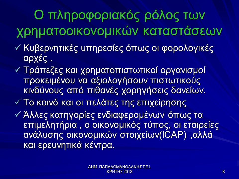 ΔΗΜ.ΠΑΠΑΔΟΜΑΝΩΛΑΚΗΣ Τ.Ε.Ι. ΚΡΗΤΗΣ 2013 59 Χρηματοοικονομικές Δυσχέρειες (Financial Distress) 1.