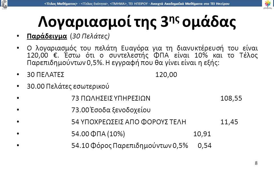8 -,, ΤΕΙ ΗΠΕΙΡΟΥ - Ανοιχτά Ακαδημαϊκά Μαθήματα στο ΤΕΙ Ηπείρου Λογαριασμοί της 3 ης ομάδας Παράδειγμα (30 Πελάτες) Ο λογαριασμός του πελάτη Ευαγόρα για τη διανυκτέρευσή του είναι 120,00 €.