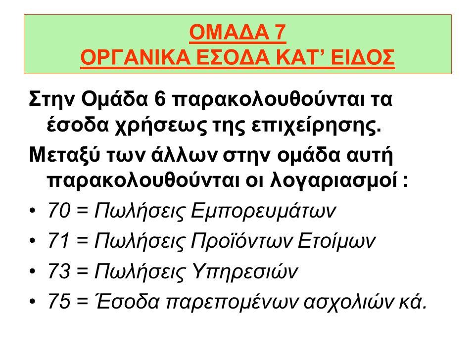 ΟΜΑΔΑ 6 ΟΡΓΑΝΙΚΑ ΕΞΟΔΑ ΚΑΤ' ΕΙΔΟΣ Στην Οµάδα 6 παρακολουθούνται τα έξοδα χρήσεως της επιχείρησης. Μεταξύ των άλλων στην οµάδα αυτή παρακολουθούνται οι