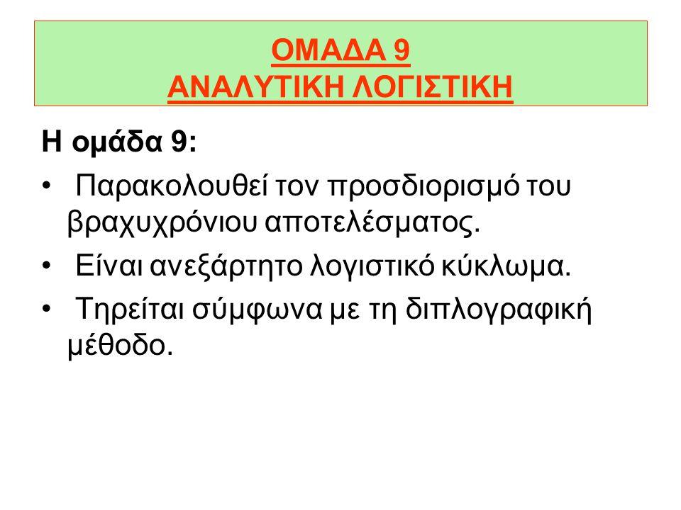 ΟΜΑΔΑ 8 ΑΠΟΤΕΛΕΣΜΑΤΙΚΟΙ ΛΟΓΑΡΙΑΣΜΟΙ Στην οµάδα 8 παρακολουθούνται τα στάδια παρακολούθησης του αποτελέσµατος καθώς επίσης τα έκτακτα και τα ανόργανα έ