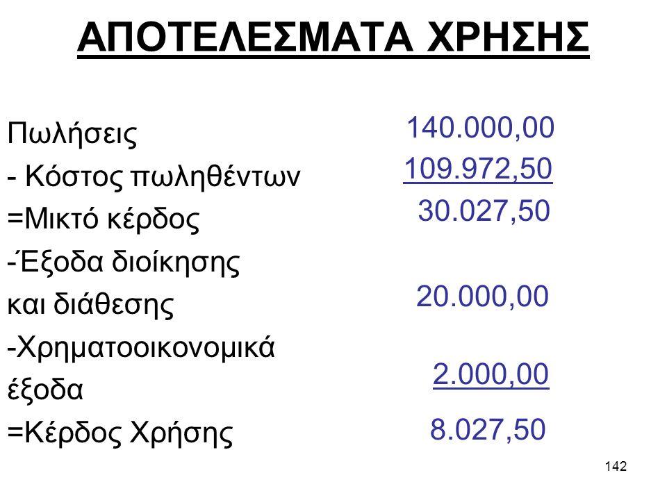141 Μορφή κατάστασης αποτελεσμάτων χρήσης ΠωλήσειςΧΧΧ Κόστος πωληθέντωνΧΧΧ Μικτά αποτελέσματα εκμετάλλευσηςΧΧΧ - Έξοδα διοίκησηςΧΧΧ - Έξοδα έξοδα έρευ