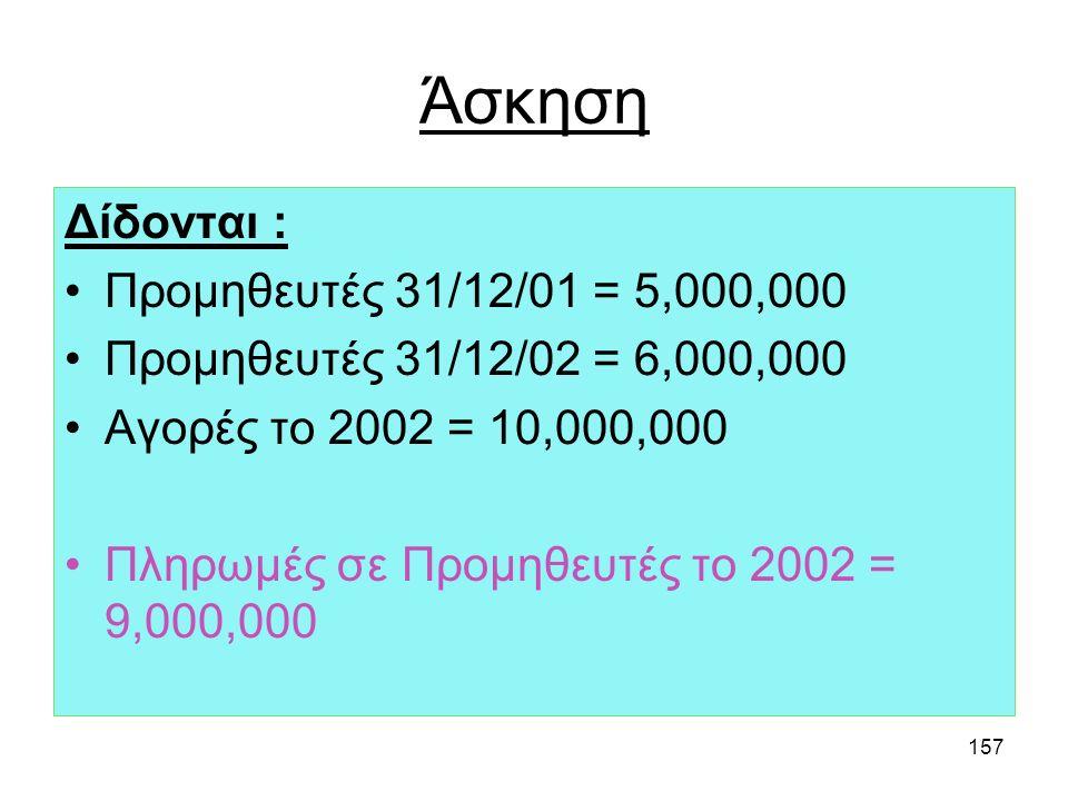 156 Άσκηση Δίδονται : Πελάτες 31/12/01 = 5,000,000 Πελάτες 31/12/02 = 6,000,000 Πωλήσεις το 2002 = 10,000,000 Εισπράξεις από πελάτες το 2002 = 9,000,0