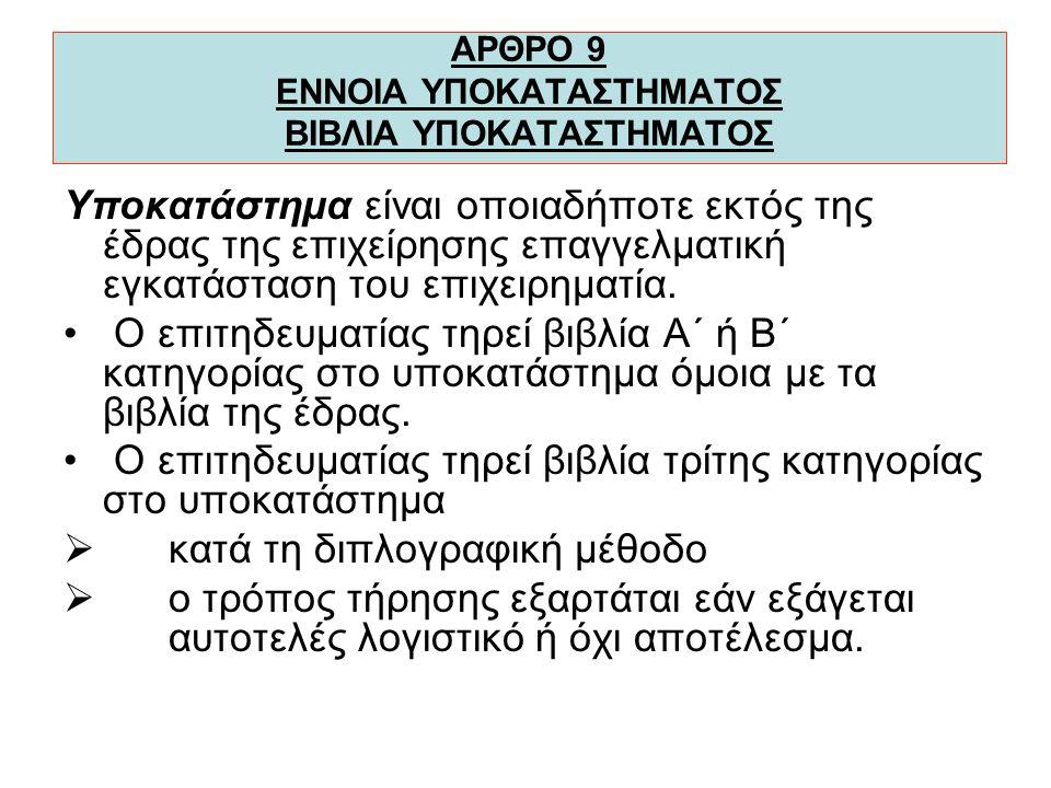 ΑΡΘΡΟ 8 ΒΙΒΛΙΟ ΑΠΟΘΗΚΗΣ Στο άρθρο 8 ορίζονται τα σχετικά µε την τήρηση του Βιβλίου Αποθήκης ως εξής: Ο επιτηδευµατίας που πωλεί χονδρικώς τα αγαθά τηρ