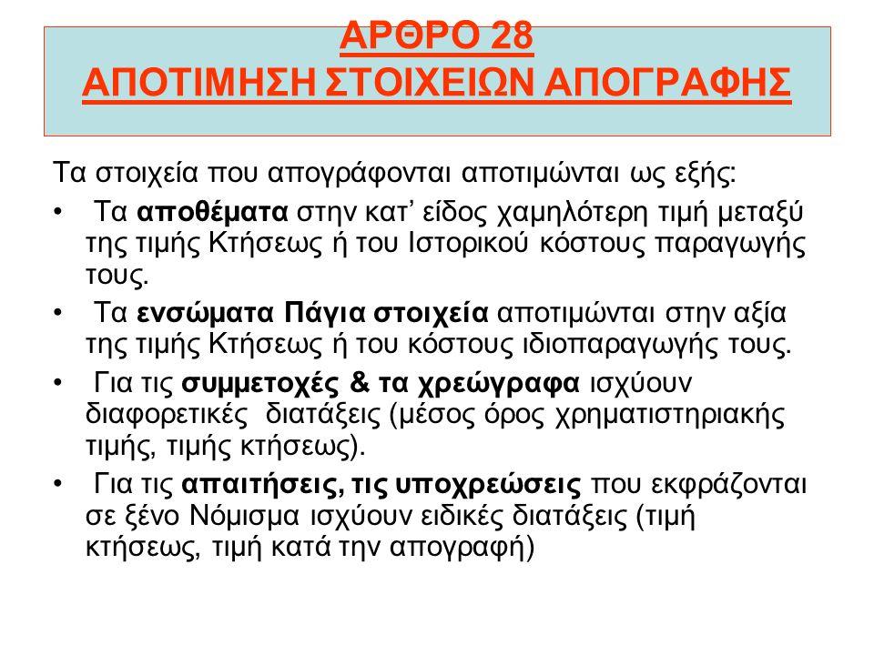 ΑΡΘΡΟ 27 ΑΠΟΓΡΑΦΗ Στο άρθρο 27 αναφέρεται η διαδικασία για την απογραφή των στοιχείων κατά τη λήξη της διαχειριστικής περιόδου. Κατά την απογραφή γίνε