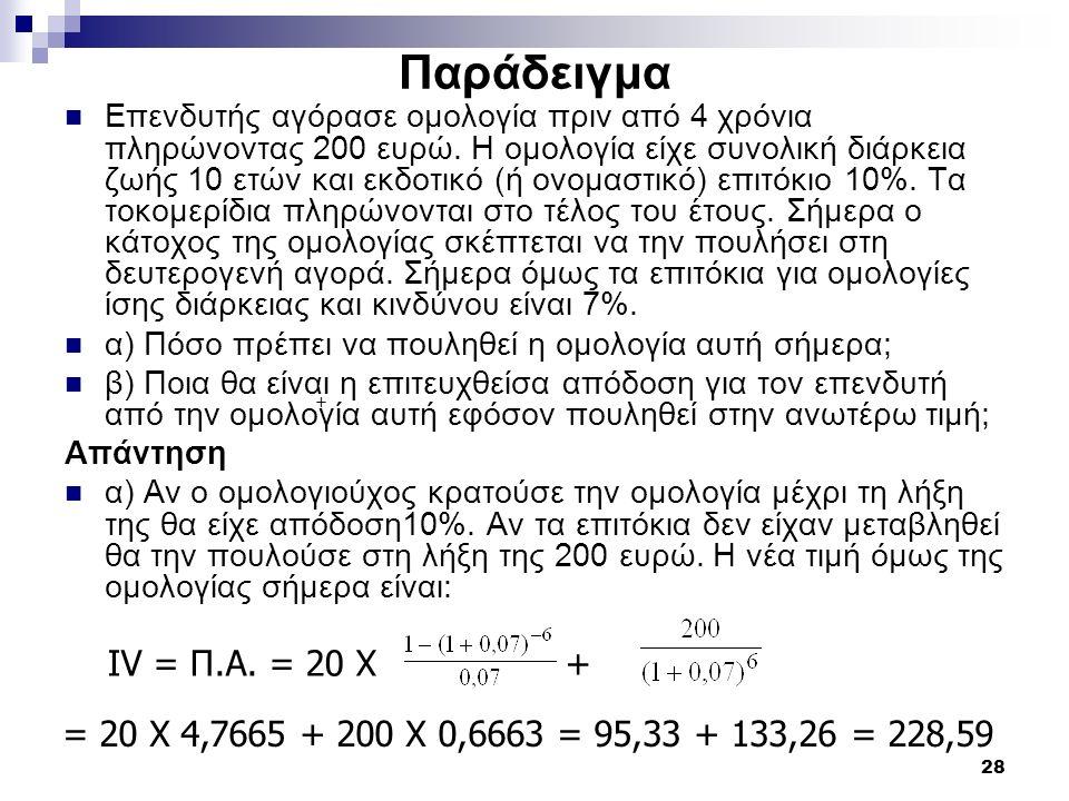 28 Παράδειγμα Επενδυτής αγόρασε ομολογία πριν από 4 χρόνια πληρώνοντας 200 ευρώ. Η ομολογία είχε συνολική διάρκεια ζωής 10 ετών και εκδοτικό (ή ονομασ