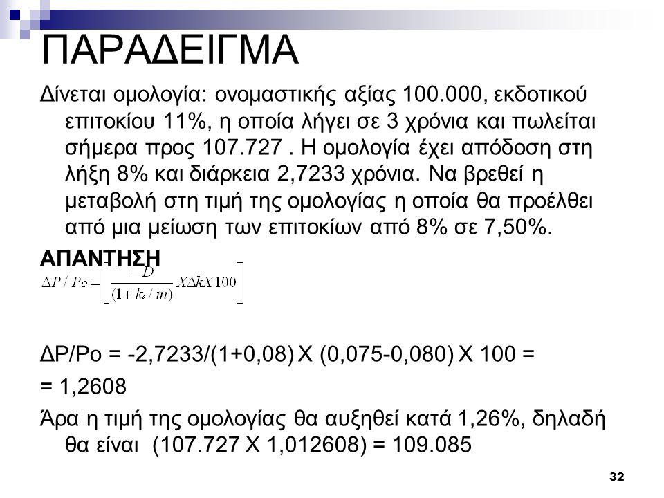 ΠΑΡΑΔΕΙΓΜΑ Δίνεται ομολογία: ονομαστικής αξίας 100.000, εκδοτικού επιτοκίου 11%, η οποία λήγει σε 3 χρόνια και πωλείται σήμερα προς 107.727. Η ομολογί