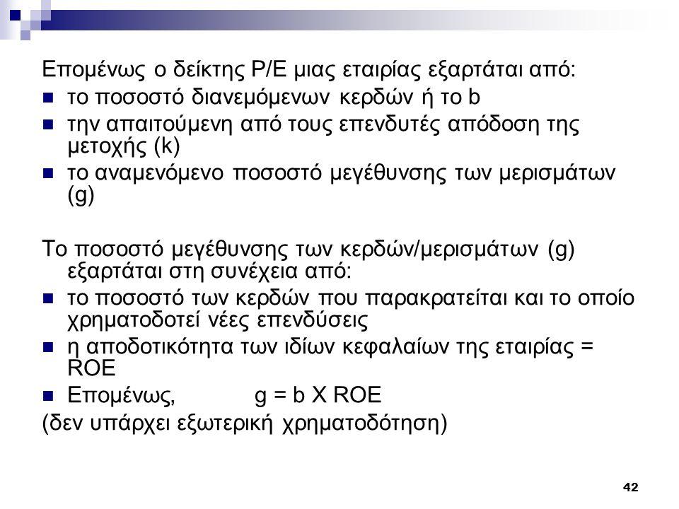 42 Επομένως ο δείκτης P/E μιας εταιρίας εξαρτάται από: το ποσοστό διανεμόμενων κερδών ή το b την απαιτούμενη από τους επενδυτές απόδοση της μετοχής (k