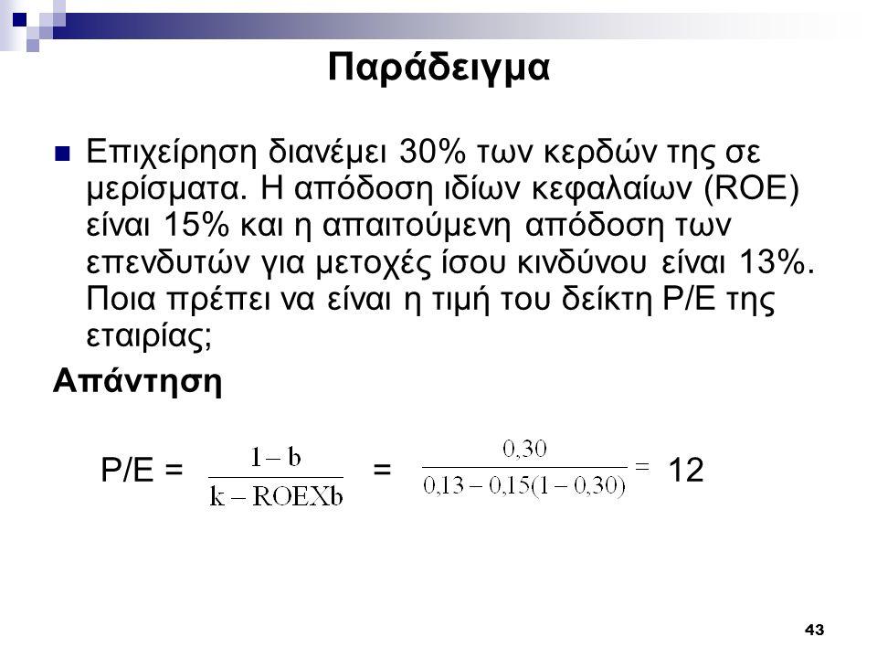 43 Παράδειγμα Επιχείρηση διανέμει 30% των κερδών της σε μερίσματα. Η απόδοση ιδίων κεφαλαίων (ROE) είναι 15% και η απαιτούμενη απόδοση των επενδυτών γ