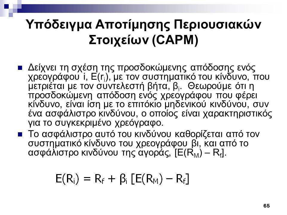 65 Υπόδειγμα Αποτίμησης Περιουσιακών Στοιχείων (CAPM) Δείχνει τη σχέση της προσδοκώμενης απόδοσης ενός χρεογράφου i, Ε(r i ), με τον συστηματικό του κ