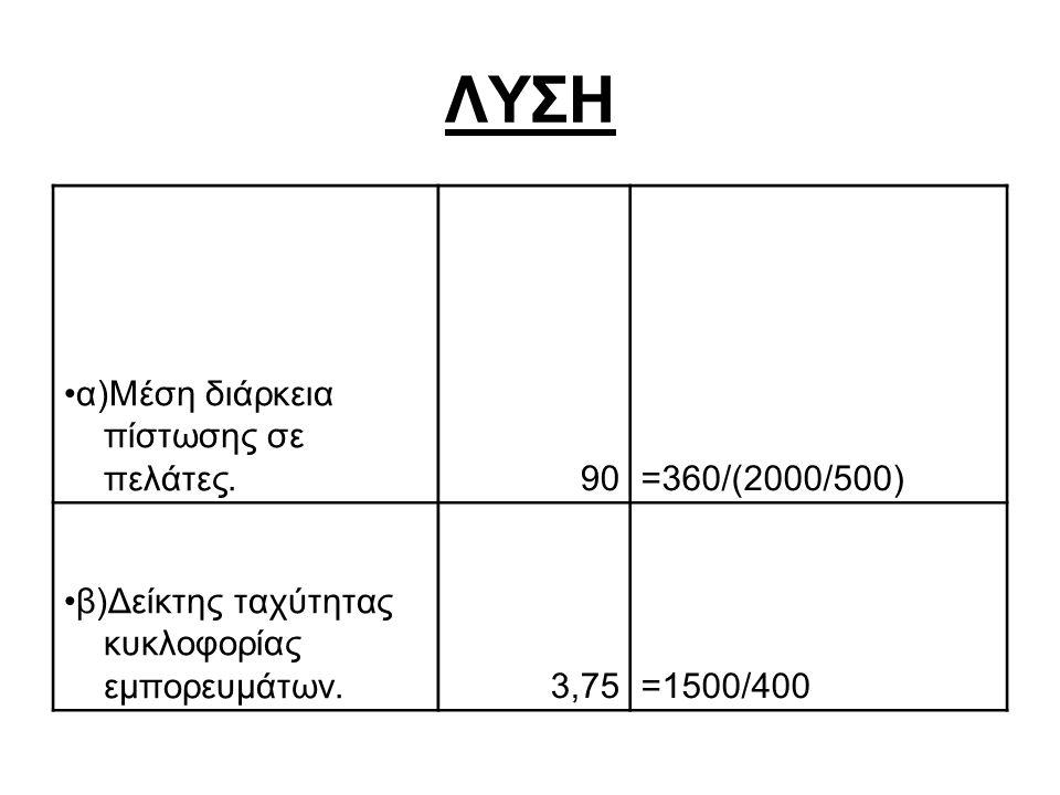 ΛΥΣΗ α)Μέση διάρκεια πίστωσης σε πελάτες.90=360/(2000/500) β)Δείκτης ταχύτητας κυκλοφορίας εμπορευμάτων.3,75=1500/400