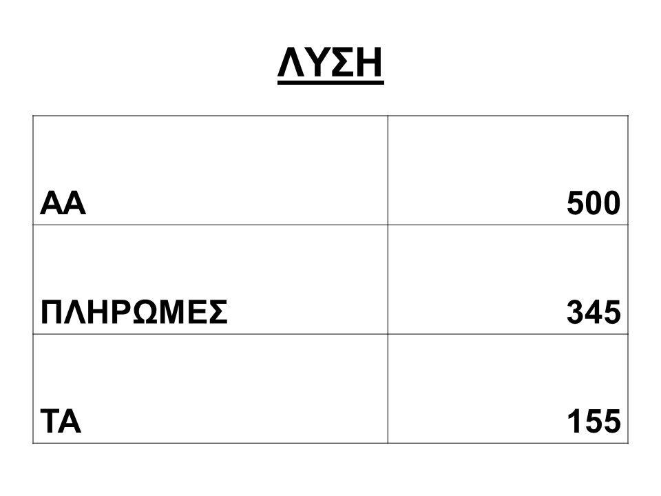 ΛΥΣΗ AA500 ΠΛΗΡΩΜΕΣ345 ΤΑ155