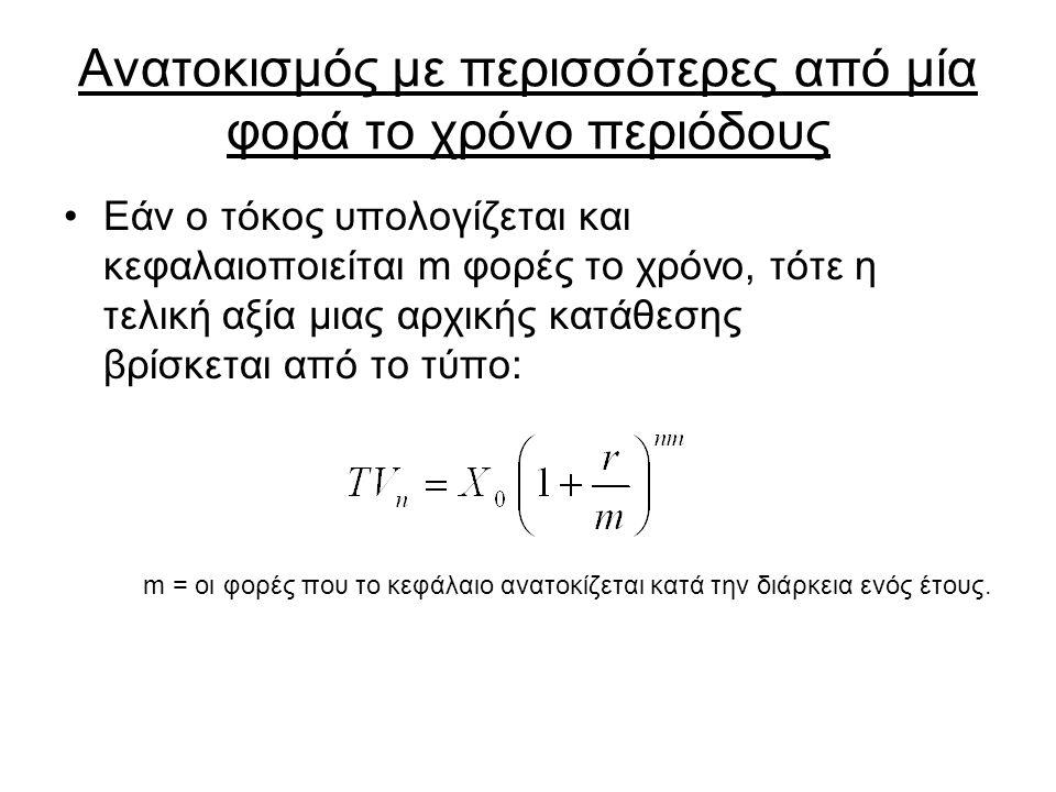 Ανατοκισμός με περισσότερες από μία φορά το χρόνο περιόδους Εάν ο τόκος υπολογίζεται και κεφαλαιοποιείται m φορές το χρόνο, τότε η τελική αξία μιας αρχικής κατάθεσης βρίσκεται από το τύπο: m = οι φορές που το κεφάλαιο ανατοκίζεται κατά την διάρκεια ενός έτους.