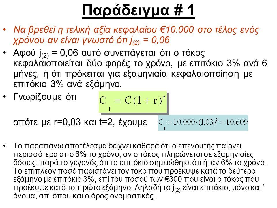Παράδειγμα # 1 Να βρεθεί η τελική αξία κεφαλαίου €10.000 στο τέλος ενός χρόνου αν είναι γνωστό ότι j (2) = 0,06 Αφού j (2) = 0,06 αυτό συνεπάγεται ότι ο τόκος κεφαλαιοποιείται δύο φορές το χρόνο, με επιτόκιο 3% ανά 6 μήνες, ή ότι πρόκειται για εξαμηνιαία κεφαλαιοποίηση με επιτόκιο 3% ανά εξάμηνο.