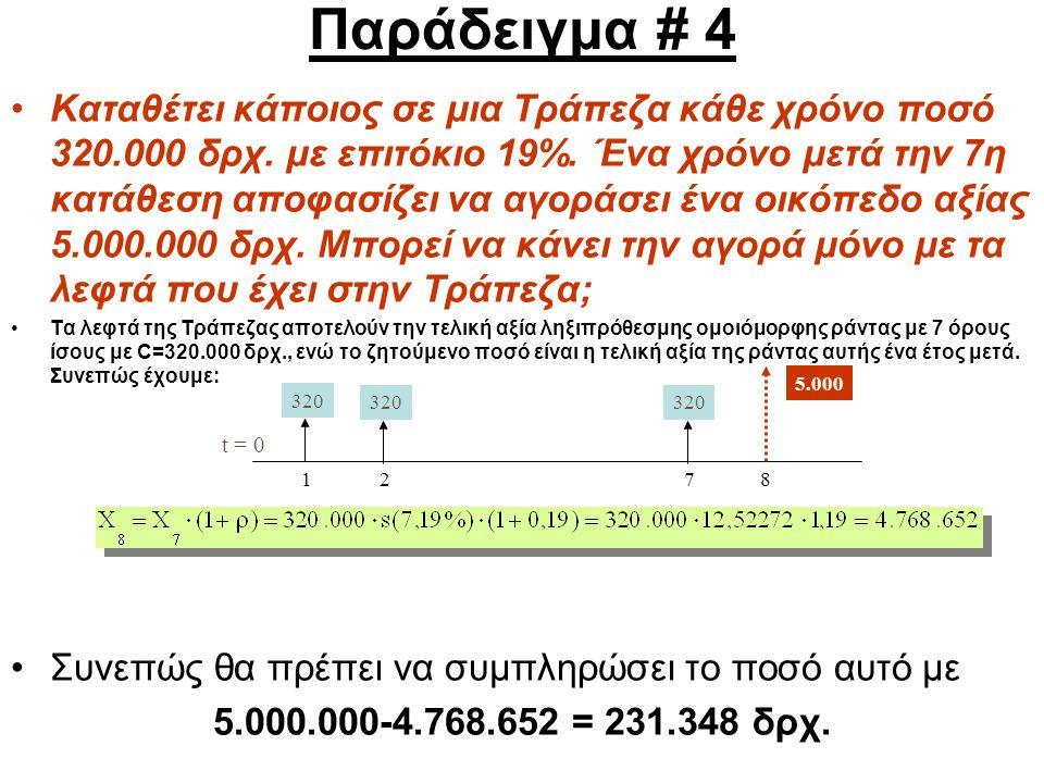 Παράδειγμα # 4 Καταθέτει κάποιος σε μια Τράπεζα κάθε χρόνο ποσό 320.000 δρχ.