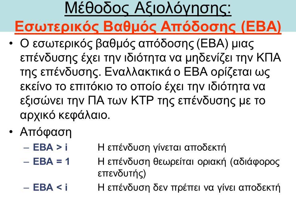Μέθοδος Αξιολόγησης: Εσωτερικός Βαθμός Απόδοσης (ΕΒΑ) Ο εσωτερικός βαθμός απόδοσης (ΕΒΑ) μιας επένδυσης έχει την ιδιότητα να μηδενίζει την ΚΠΑ της επένδυσης.