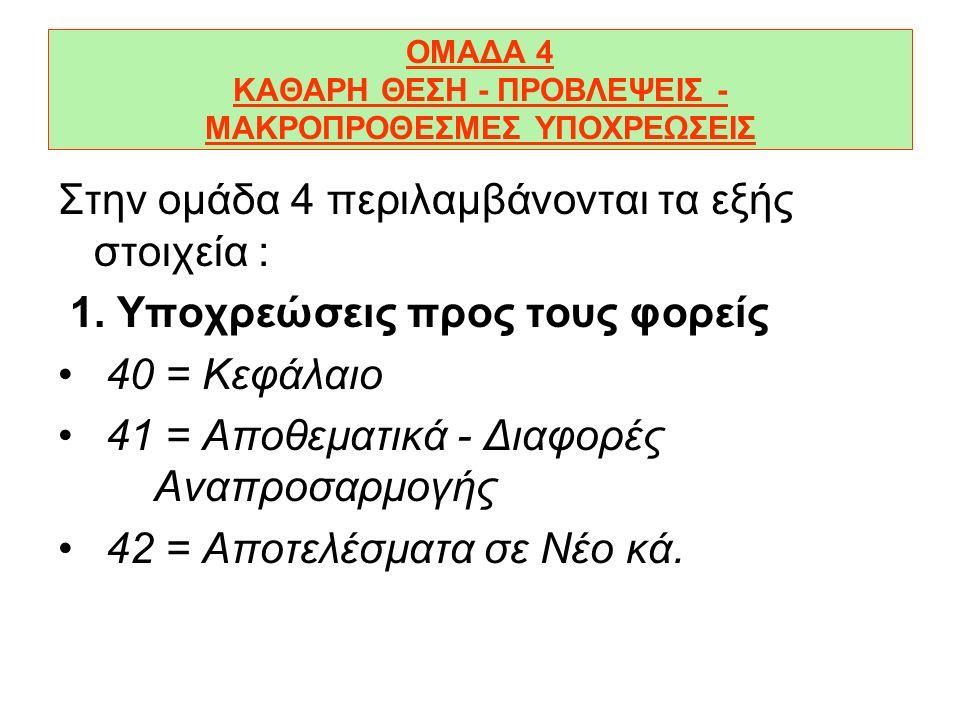 ΟΜΑΔΑ 4 ΚΑΘΑΡΗ ΘΕΣΗ - ΠΡΟΒΛΕΨΕΙΣ - ΜΑΚΡΟΠΡΟΘΕΣΜΕΣ ΥΠΟΧΡΕΩΣΕΙΣ Στην οµάδα 4 περιλαµβάνονται τα εξής στοιχεία : 1.